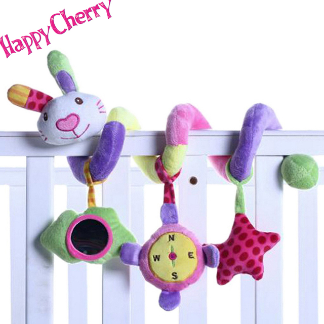 Happy Cherry Infant Plush Rainbow Rabbit Spiral Crib Round The Bed Stroller Toy with Music Rattles Mobile For Baby Playing