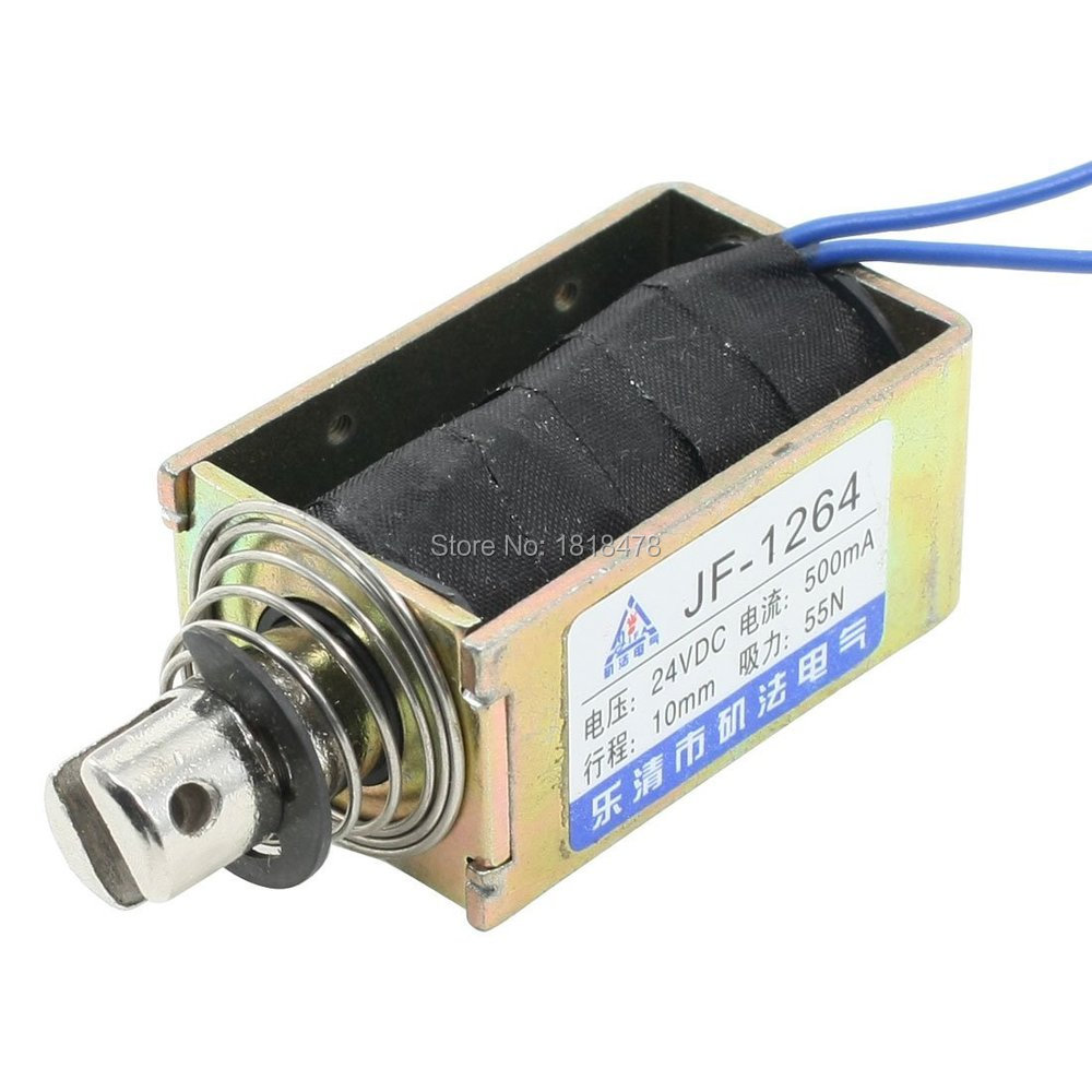 JF-1264B  DC 24V 500mA Push Pull Type Open Frame Solenoid Electromagnet 10mm 55N 12LB 3mm 1kg wired open frame push pull type solenoid electromagnet dc 24v 0 68a