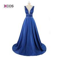 Navy Blue Satin Ball Gown Long Prom Dresses 2017 V Neck Tank Heavily Beaded Crystals Sleeveless