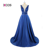 Navy Blue Satin Ball Gown Long Prom Dresses 2017 V Neck Tank Heavily Beaded Crystals Sleeveless
