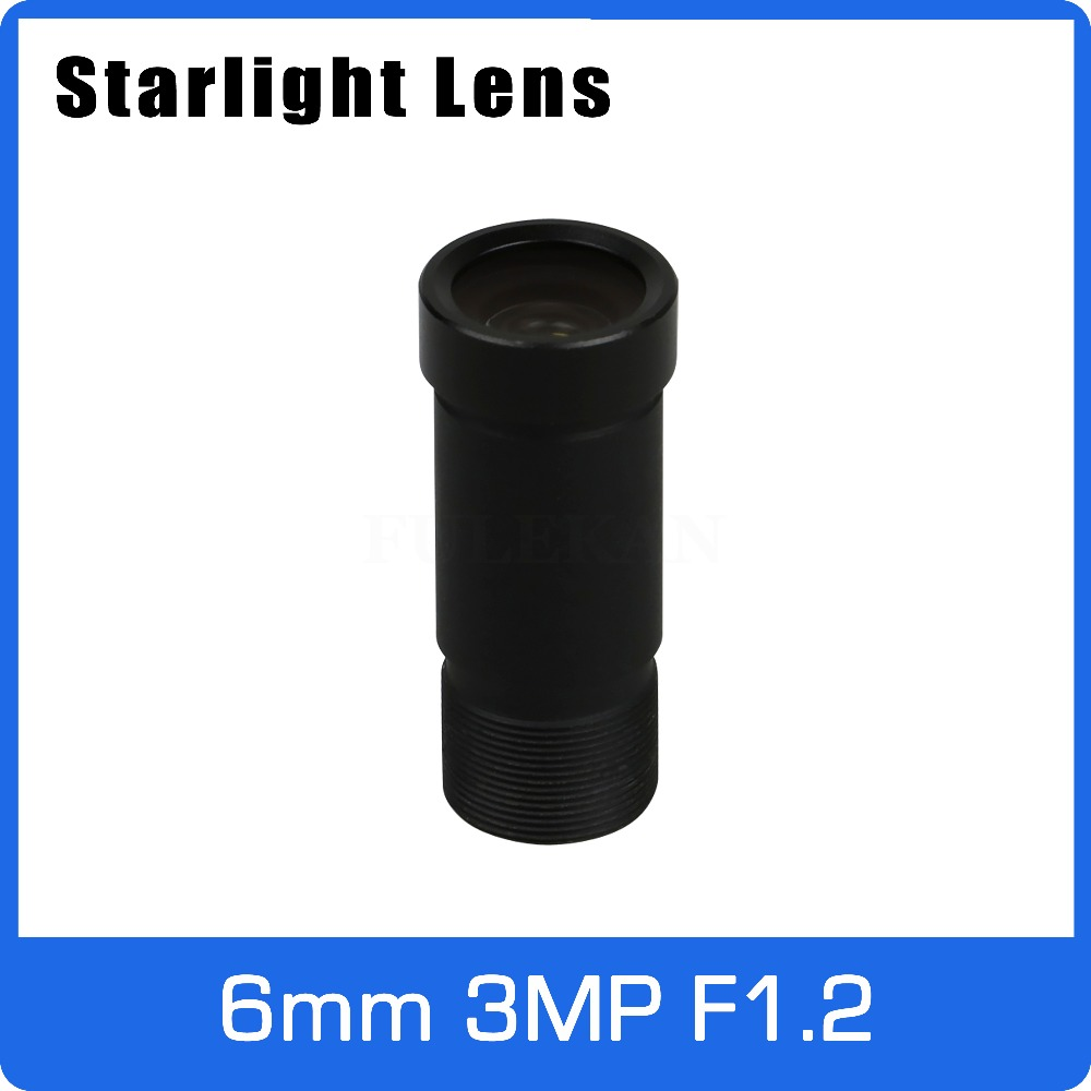 Starlight Lens 3MP 6mm Fixed Aperture F1.2 For SONY IMX290/291/307/327 Ultra Low Light CCTV AHD Camera IP Camera Free Shipping