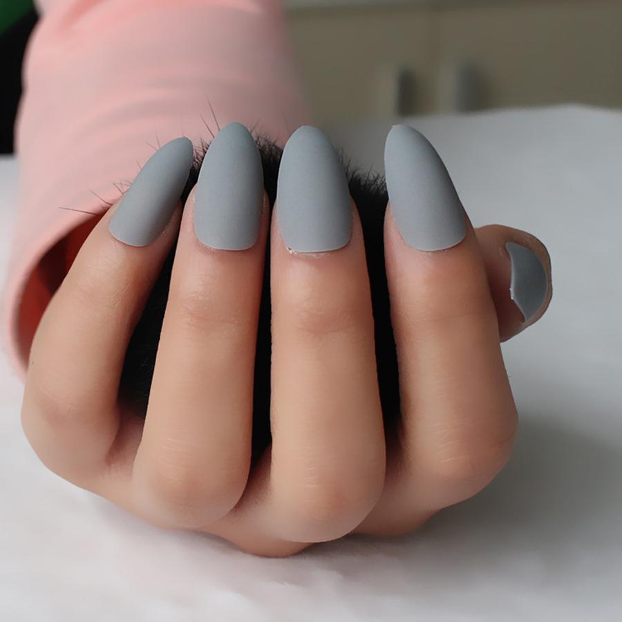 24pcs/set Matte Stiletto Nails Sharp Pointed Shape fake stiletto ...