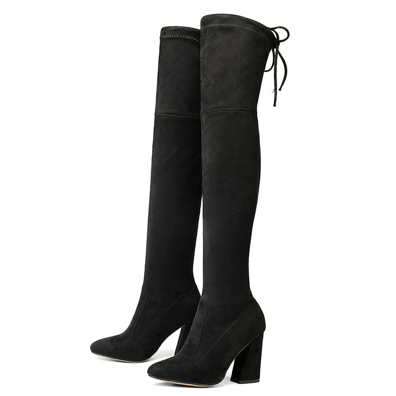 Fashion 2018 Women Boots Over The Knee Boots Lace Up Square High Heel Round Toe Women Boots Stretch Fabric Boots Size 34-43 nemaone 2018 over the knee boots square med heel women boots sexy ladies lace up stretch fabric fashion boots black size 34 43