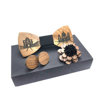 wood bow tie set men's wooden brooch and wood cufflinks Hollow Out Carved Retro Wooden Neck Bow Ties Adjustable Strap Vintage