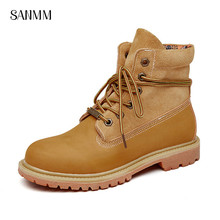 SANMM Women Flat Platform Leather Shoes Fashion Lace-Up Woman Ankle Boots Lovers Street Style Casual AZ45