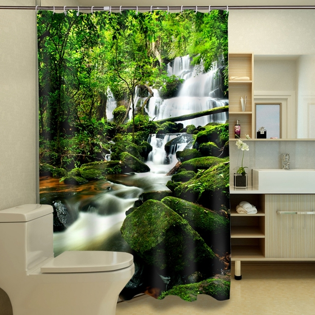Jungle Stream 3D Photo Digital Printing Bath Waterproof Shower ...