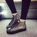 Outono inverno Calçados Femininos 2017 Moda Oco Rendas Das Mulheres Sapatos Casuais Apartamentos Alpercatas de Lona Plimsolls Respirável Gumshoe