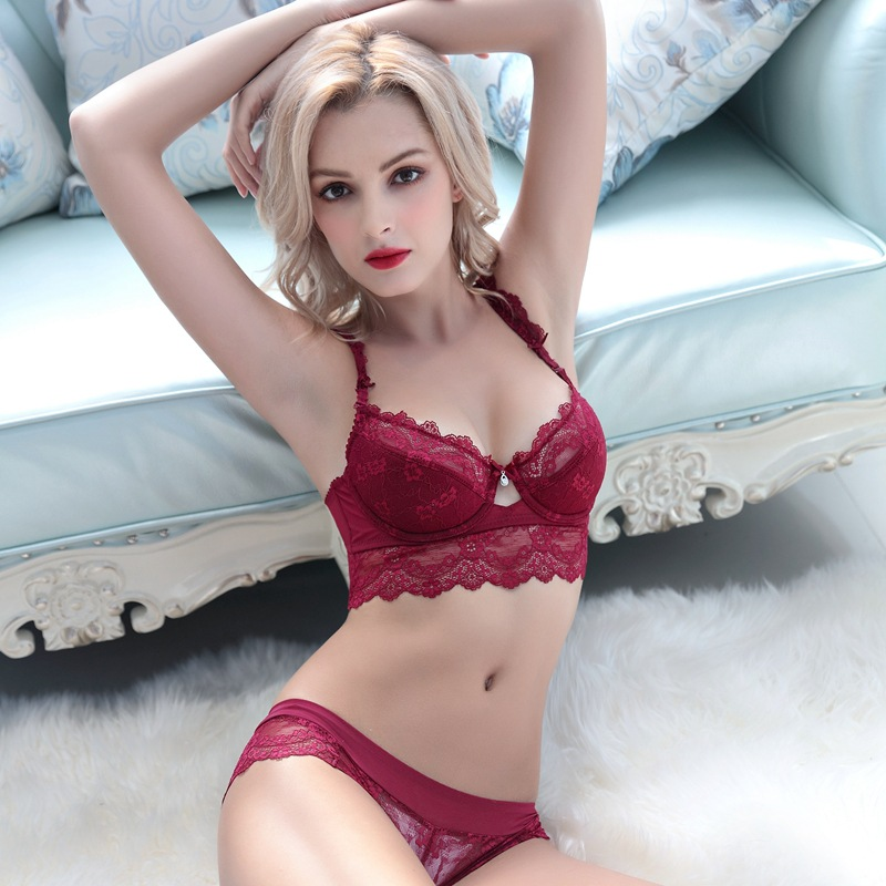 898988af6c Sexy Mousse Women Bra Set Ultra thin Red Black Lace Bras Underwear Plus  size Push up Bra and Panties Set Cup A B C D E Plus size-in Bra   Brief Sets  ...