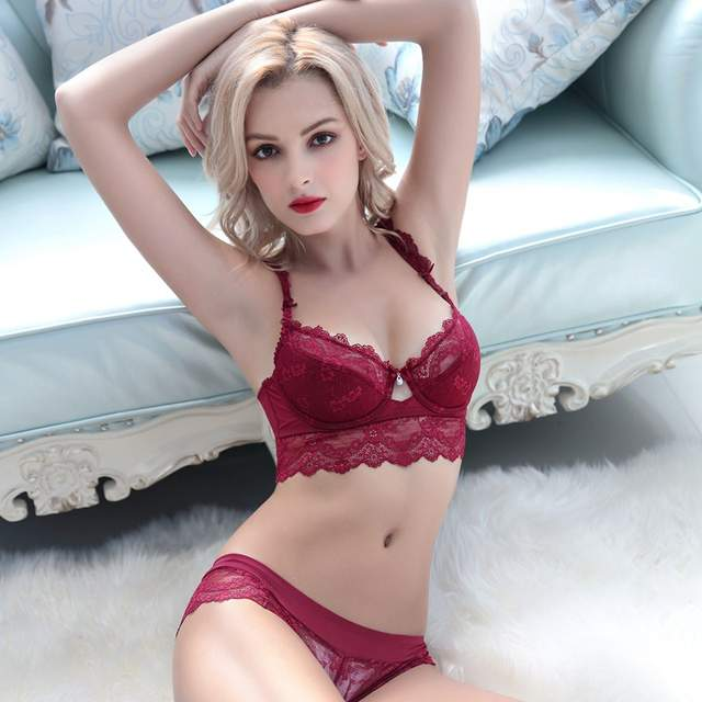 d74a1ee1850 Sexy Mousse Women Bra Set Ultra-thin Red Black Lace Bras Underwear Plus  size Push