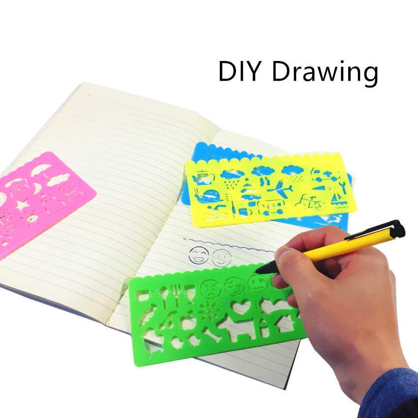 10 مجموعات/وحدة لطيف نمط الكرتون متعددة الوظائف الرسم الحكام جميل القرطاسية الرسم أدوات هدية القرطاسية المرجعية طفل لعبة