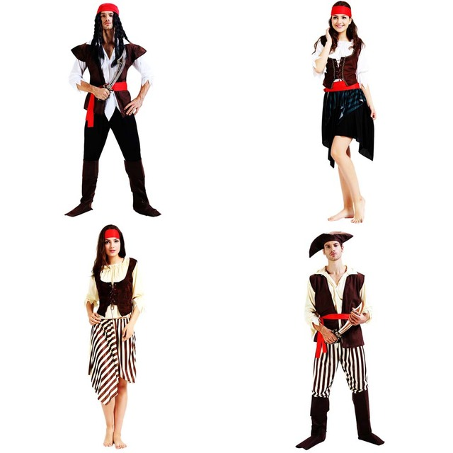 Women Men Pirate Cosplay Costume Adults Pirates Costumes  Carnival Party Dress Purim Halloween Christmas