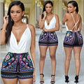 2016 New Women Plunge Froal Tribal Print Short Jumpsuit Romper Women Summer Sexy Back Cross Retro Plausuit Bodysuit