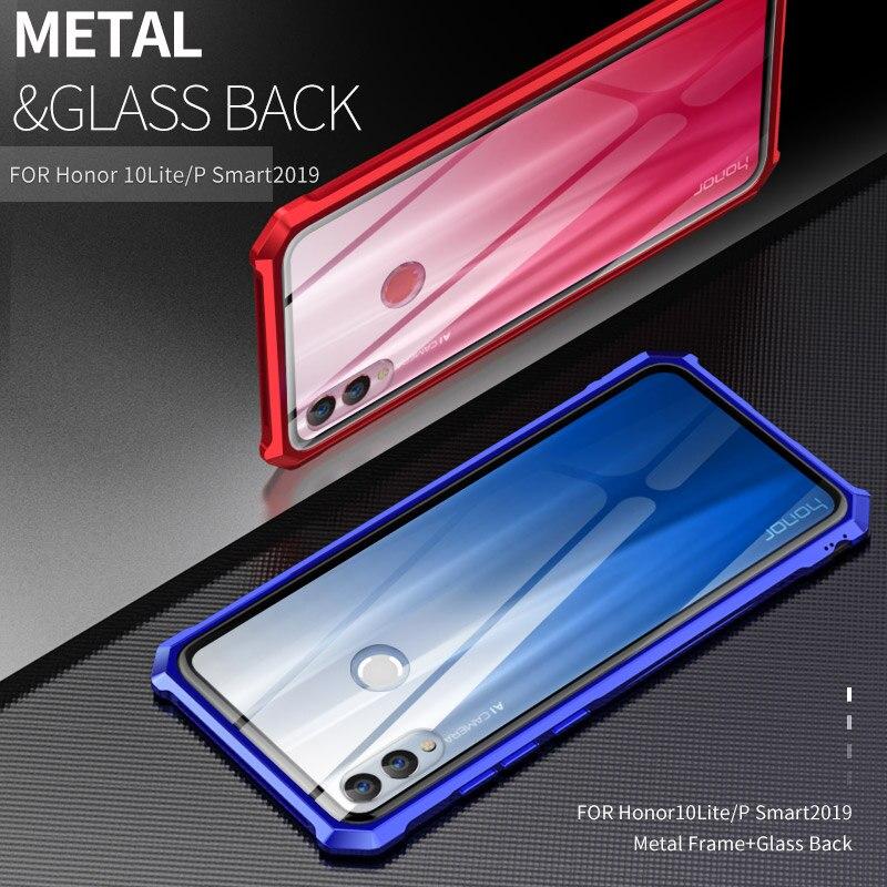 Pour Huawei Honor View 20 coque en verre couverture arrière en aluminium cadre de pare-chocs en métal pour Huawei Honor 10 Lite coque arrière P Smart2019 coque