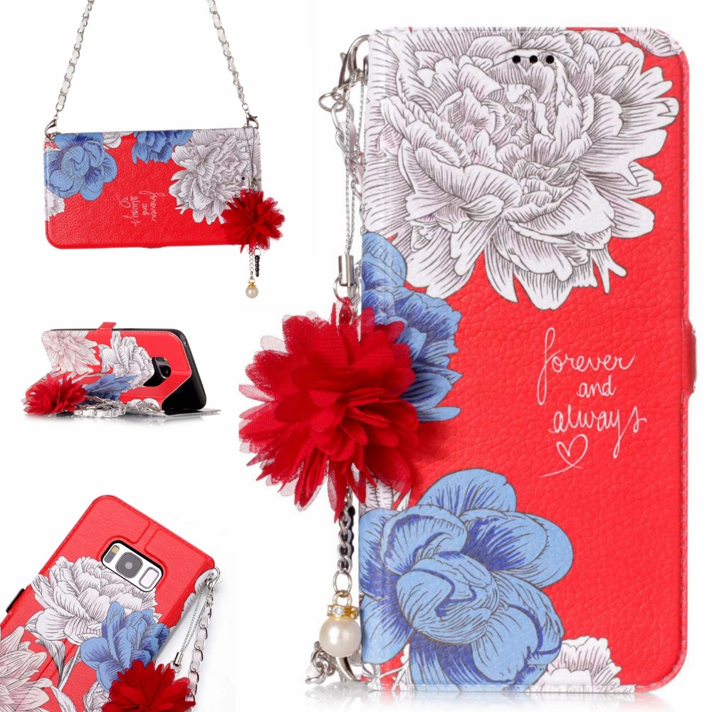 Pearl Pink Rose Flower Leather <font><b>Phone</b></font> <font><b>Case</b></font> for Samsung galaxy S8 s8Plus fashion women Handbag Flip Wallet Card holder back Cover