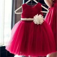 New Fashion Simple Red Summer Tutu Dress Ivory Flower Bowknot For 60 140cm Newborn Baby Girls Wedding Infant Birthday Party