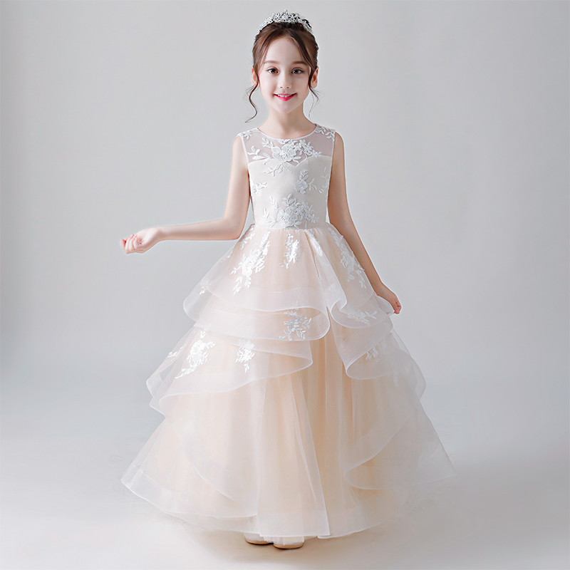 2018Summer New Flowers Girl Children Luxury Champagne Wedding Birthday Party Tulle Long Princess Dress Babies Kids Costume Dress
