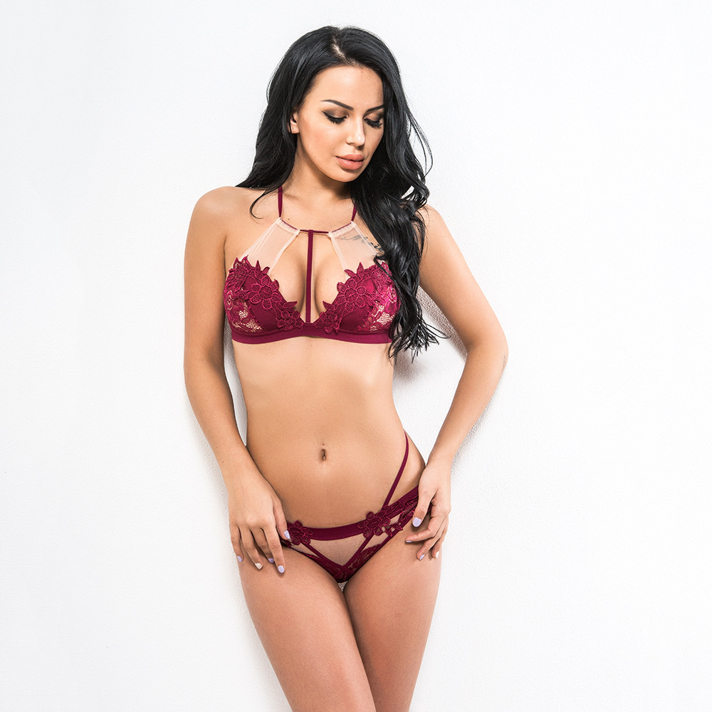 Wine Red Floral Appliques Halter Hollow Out Thin Unlined Women Bralette Set Lingerie Sexy Hot Erotic Bra And Panty Set Underwear