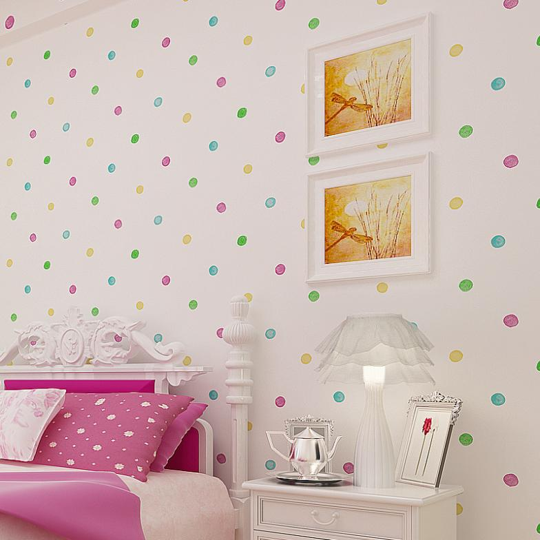 Free shipping high quality home decoration colored dots for Baby room decoration wallpaper