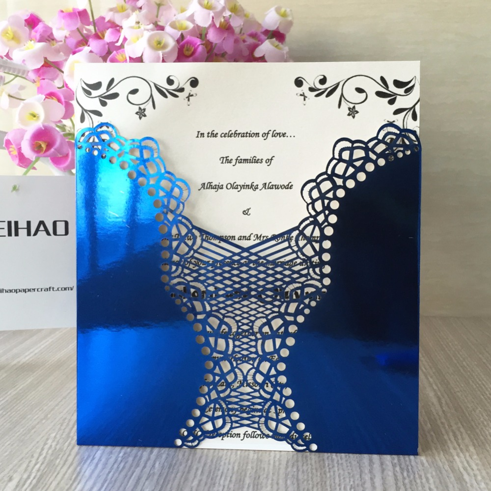 50Pcs/lot Laser Cut Wedding Invitation Card For Decoration Flower Carved  Dark Purple Chinese Red Bright Royal Blue 21 Colors