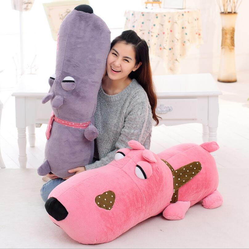 90cm/1.5kg lying Big Head dog Plush Toy 4 Colors Dog Stuffed Animal Soft PP Cotton Kids Toy Gift For Children Birthday Holiday 1pc 50 85cm 3 colors cute lying down french bulldog plush stuffed toy doll model soft cotton dog pillows baby kids birthday gift