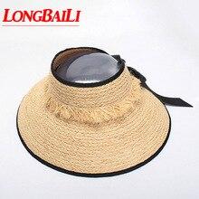 Verano nuevo rafia visera sombreros para las mujeres paja de ala ancha  playa Del Sol envío libre SWDS007 196d9702dbb