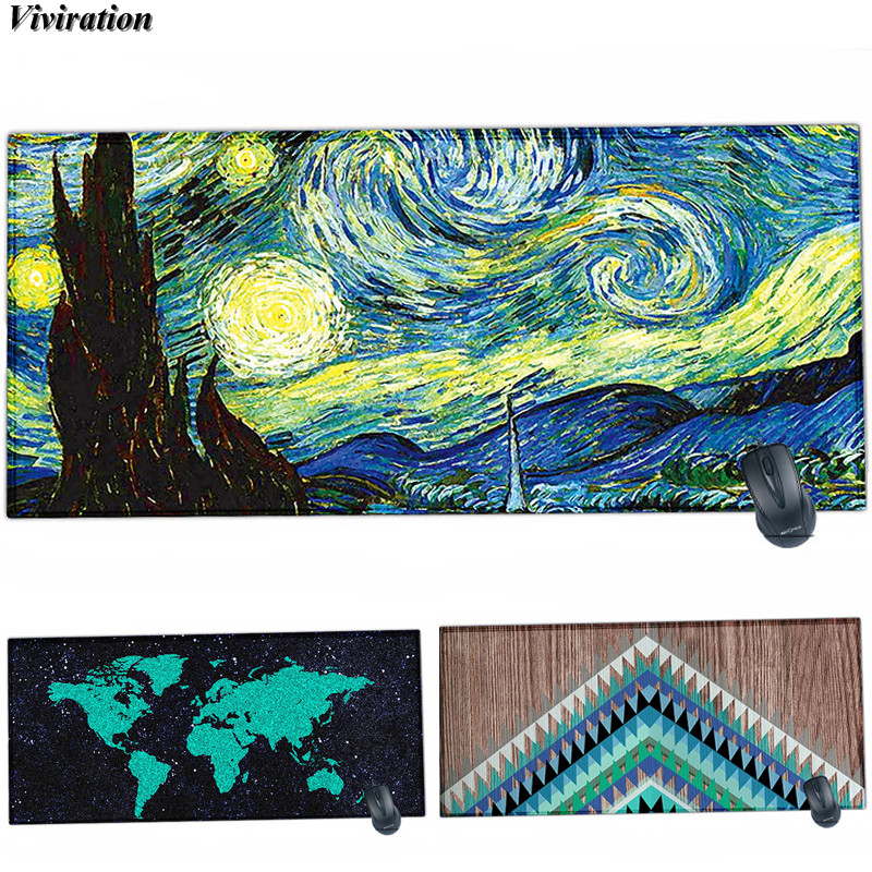 New Van Gogh Viviration Anti-slip Big Mouse Mat Pad For Trackball Mouse Laser Mice XL 900x400x2mm Computer Gaming Mouse Pad Mat