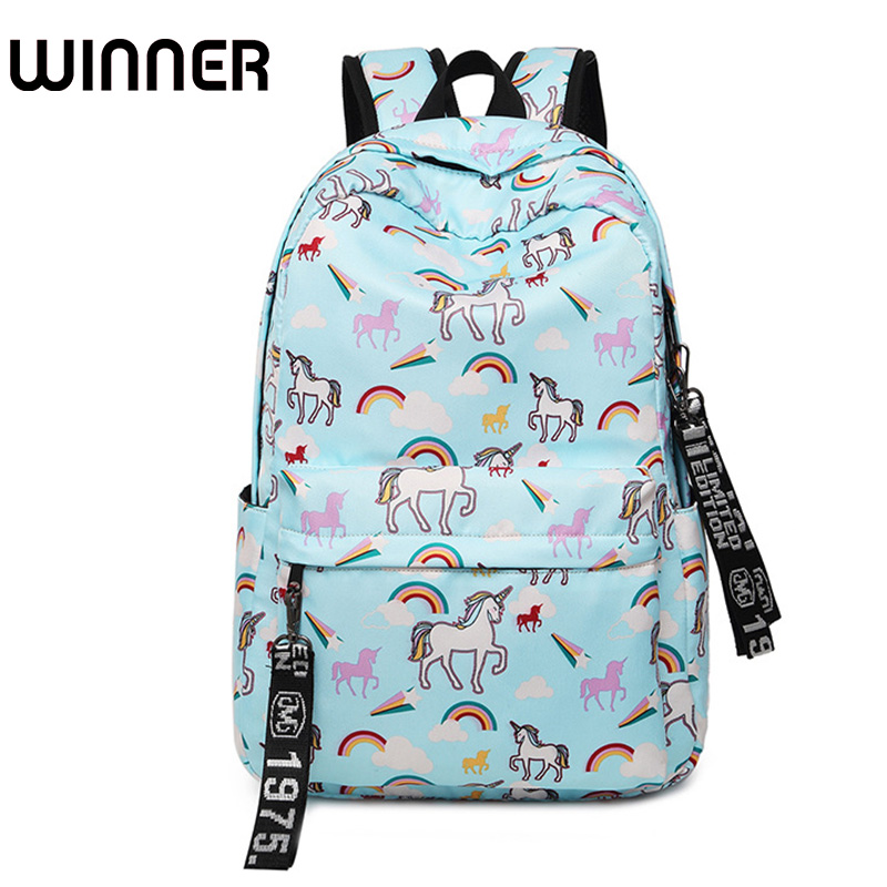 Cute Waterproof Nylon Women Backpack Flamingos Printing Rucksack Unicorn Pattern Daily College Laptop Mochila