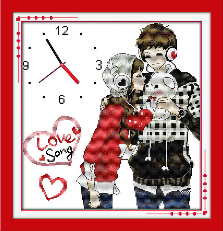 Siempre amor (reloj) kit de punto de cruz 14ct 11ct cuenta impresión lienzo pared reloj costura bordado DIY hecho a mano costura