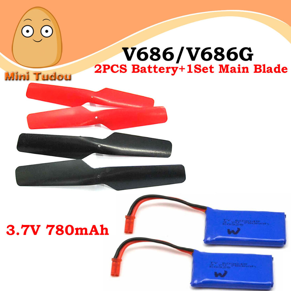 Minitudou 3in1 Set Propeller 2 3 7V 780mAh LiPo Battery For WLtoys V636 V686 V686G V686J