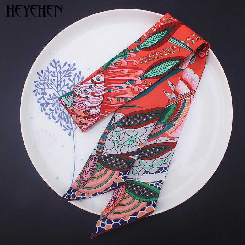 New Design Luxury Brand Bohemia Skinny Small Bag Twill Silk Scarf Women Foulard Fashion Ribbon Head Hair Handle Scarf&Wrap
