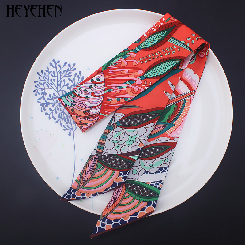 New Design Luxury Brand Bohemia Skinny Small Bag Twill Silk   Scarf   Women Foulard Fashion Ribbon Head Hair Handle   Scarf  &  Wrap