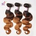 7A grado malasio de la virgen del pelo onda del cuerpo de tres 3 Tone Ombre extensiones del pelo sin procesar 3 Bundles pelo onda del cuerpo malasio