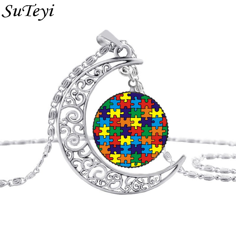 Suteyi Autism Colorful Puzzle Tree Symbol Sliver Moon Necklace Take Care Of Autism Spread Love Necklace Kids Jewelry Accessories(China)