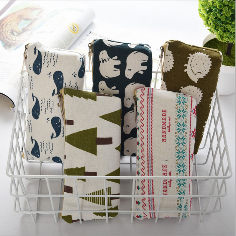 1X Kawaii cotton linen Pencil Case Storage Organizer Pen Bags Pouch Bag Pencilcase School office Supply Stationery