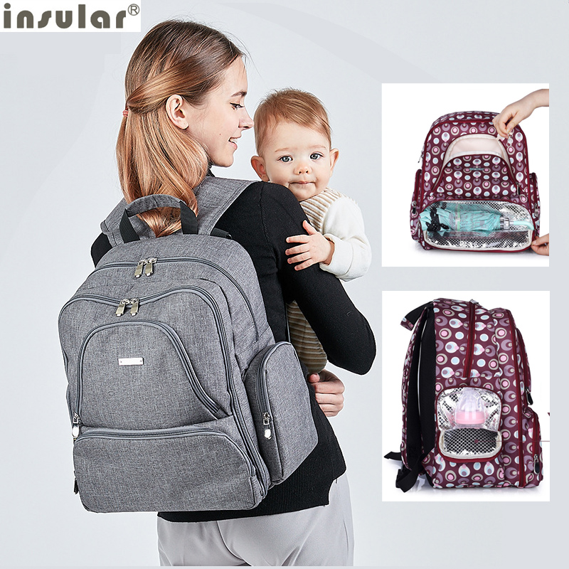 INSULAR Baby Care Maternity Bag Insulated Mommy Travel Backpack Nappy Bags Multifunctional Baby Diaper Bag For StrollerINSULAR Baby Care Maternity Bag Insulated Mommy Travel Backpack Nappy Bags Multifunctional Baby Diaper Bag For Stroller