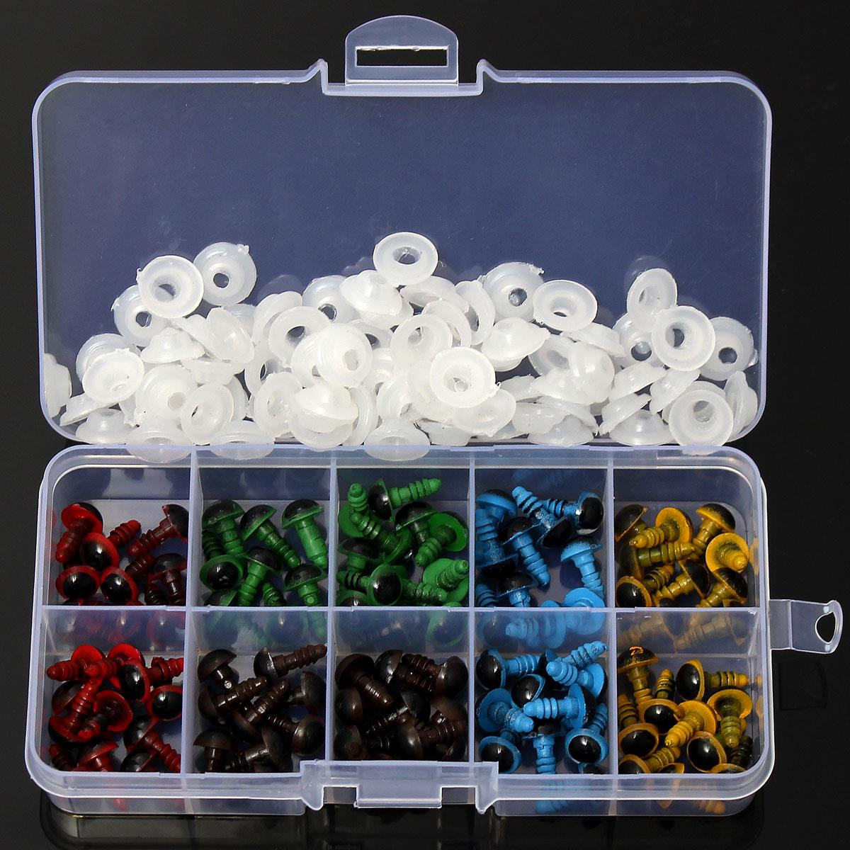 DIY Wholesale 100 Pcs/50 Pairs 5 Colors-Mix 8mm Plastic Safety Eyes Box for Teddy Bear Stuffed Toy Snap Animal Puppet Doll Craft