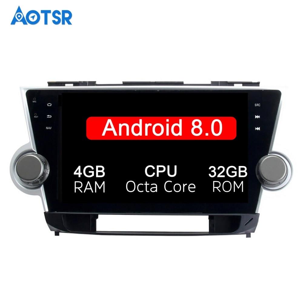 10.1 pouce 2 Din Date Android 8.0 Octa base De Voiture Radio Lecteur Stéréo GPS Navi Pour Toyota HIGHLANDER 2008- 2014 HD 1024*600 Wifi