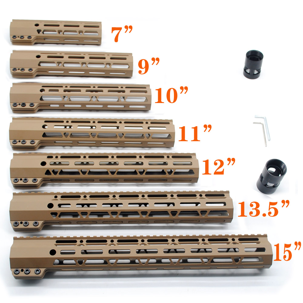 Tan 7'' 9'' 10'' 11'' 12'' 13.5'' 15'' inch Length M-lok Clamping Style Handguard Rail Free Float Mount System Free Shipping микрофонная стойка quik lok a344 bk