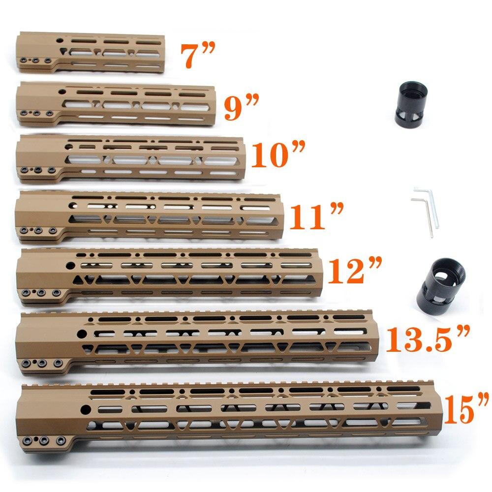 TriRock Tan 7 ''9'' 10 ''11'' 12 ''13.5'' 15 ''pouces M-lok De Serrage Style Handguard Système Ferroviaire Livraison Flottent Monture Livraison gratuite