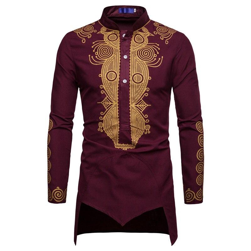 Men African Gold Polished Turtleneck  Totem Printed Half Button Shirt High Collar Asymmetrical Tailcoat Tunic Groom Top 3XL