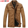 LONMMY L-3XL 2016 PU Washed leather jacket men coat Plus velvet Thicken Warm mens leather jackets and coats mens Suede Fashion