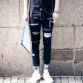 Men's fashion pocket hole ripped jeans Casual patchwork straight black denim pants Long trousers Letter  Pantalon Homme