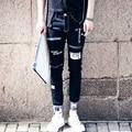 Men's fashion pocket hole ripped jeans Casual patchwork straight black denim pants Long trousers Letter  Pantalon Homme