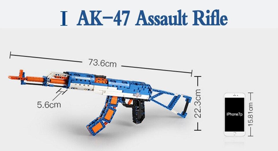 rubber band  gun  AK-47 Garand Rifle  Gun military bricks weapon set can fire building blocks toy for children gift 73