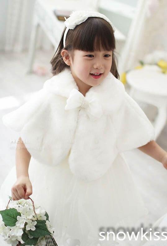 Fashion New 2016 Girls Cape Wedding Cloaks Faux Fur Jacket -9563