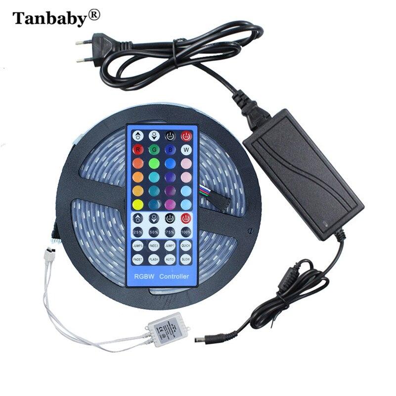 Tanbaby 5 M/Roll RGBW RGBWW LED bande lumineuse SMD5050 noir PCB avec adaptateur d'alimentation 12 V 6A étanche Flexible corde de silicium en plein air