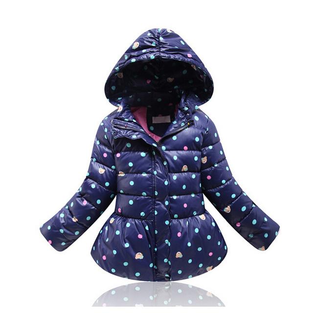2015 Nuevas muchachas del invierno abrigos niños chaquetas de algodón niños niñas invierno outwear abrigo de lunares trajes manteau hiver fille