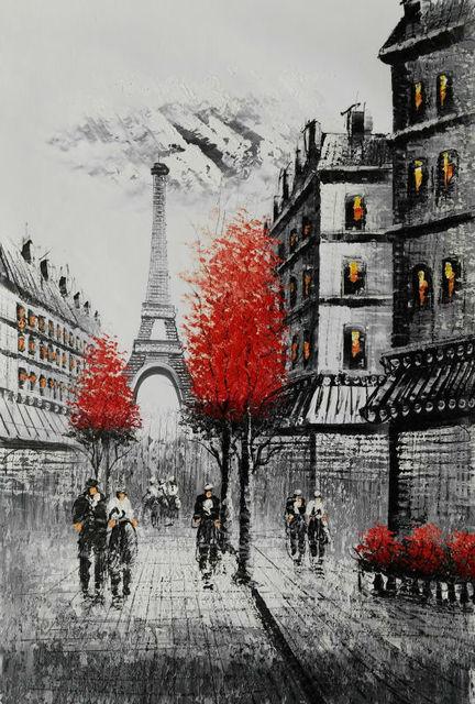 Hand Painted European Landscape Canvas Oil Painting Eiffel