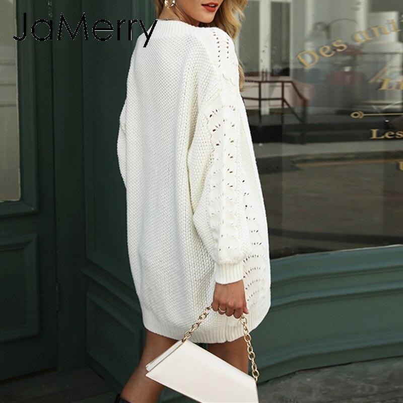 JaMerry/Винтажный осенний женский вязанный кардиган, повседневный длинный белый открытый кардиган, свитер, свободная зимняя верхняя одежда, па...