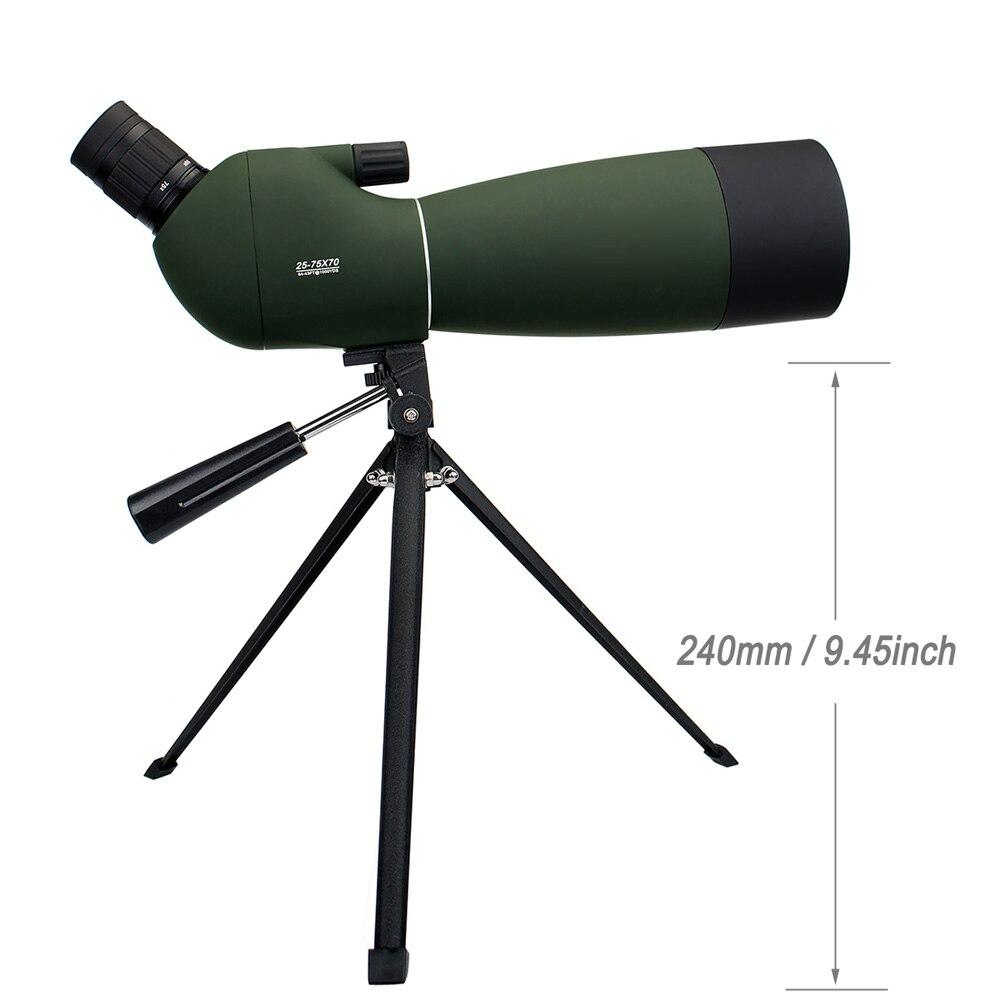 LAIDA telescopio 25-75x70 Zoom telescopio en ángulo Monocular para caza Camping senderismo aves w/trípode suave caso M0064B